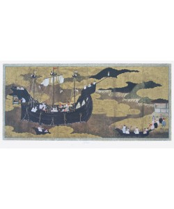Japanisch, Portugisisches Schiff läuft in japan. Hafen ein
