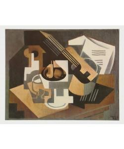 Juan Gris, Gitarre und Fruchtschale auf einem Tisch, 1918
