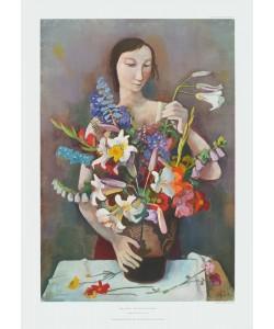 Karl Hofer, Mädchen mit Blumen