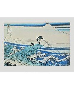 Katsushika Hokusai, Fischer auf Felsen bei Kajikazawa
