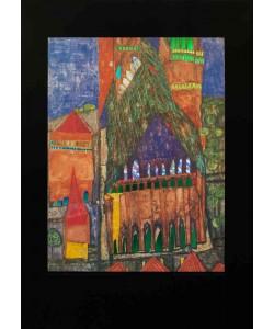 Friedensreich Hundertwasser, Bild mit Rahmen, KATHEDRALE I, Holz silber, 34 mm, schwarz gebürstet, Plexiglas