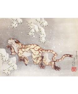Katsushika Hokusai, Tiger in einem Schneesturm