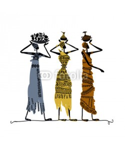 Kudryashka, Hand drawn sketch of ethnic women with jugs