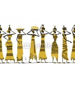 Kudryashka, Ethnic women with jugs, seamless background for your design