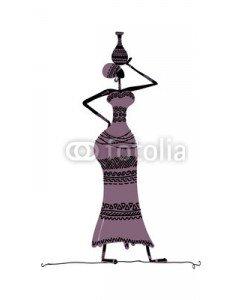 Kudryashka, Hand drawn sketch of ethnic woman with jug