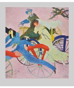 Lyonel Feininger, Draisinen-Fahrer (Laufräder) (Bütten) (Büttenpapier)