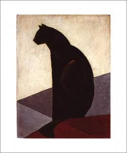 M-Louis BAUGNIET, Chat noir de profil, 1924