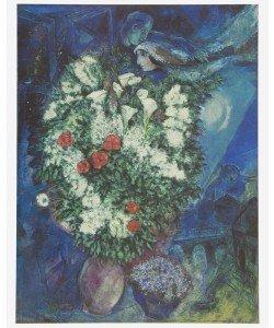 Marc Chagall, Blumenstrauss mit schwebendem Liebespaar