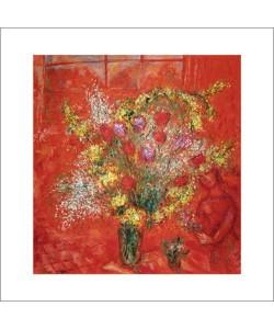 Marc Chagall, Fleurs sur fond rouge, 1970
