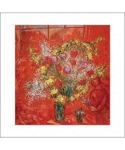 Marc Chagall, Fleurs sur fond rouge