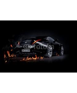 -Misha, Black sports car. Non-branded car design.