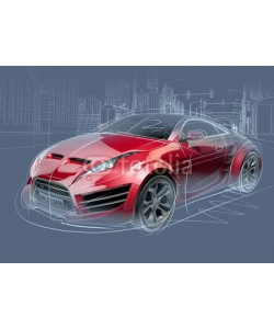 -Misha, Sports car sketch. Original car design.