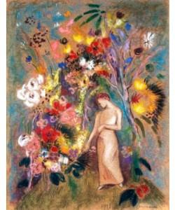 Odilon Redon  Frauengestalt in Blumen