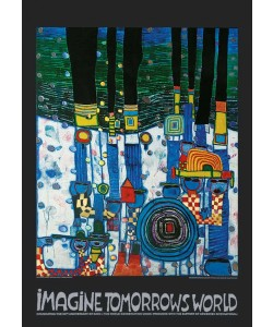 Friedensreich Hundertwasser, IMAGINE TOMORROW'S WORLD (blau/blue) (Original Manifesto-Art-Prints)