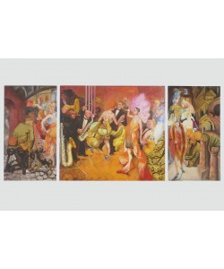 Otto Dix, Großstadt (Triptychon), 1927/28 (Granolitho-Druck auf Bütten)