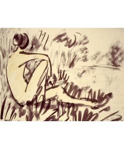 Otto Mueller, Nacktes Mädchen am Wasser sitzend