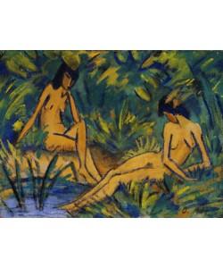 Otto Mueller, Sitzende Mädchen am Wasser