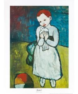 Gerahmtes Bild, Alu schwarz, Pablo Picasso, Bambina con colomba
