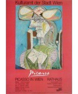 Pablo Picasso, Frau mit Hut auf blauem Hintergrund