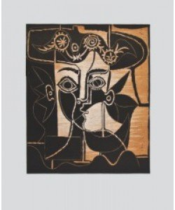 Pablo Picasso, Frauenkopf mit geschmücktem Hut (Büttenpapier)