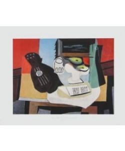 Pablo Picasso, Gitarre, Glas und Schüssel mit Früchten