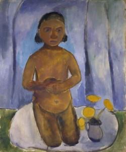 Paula Modersohn-Becker, Kniendes Kind vor blauem Vorhang