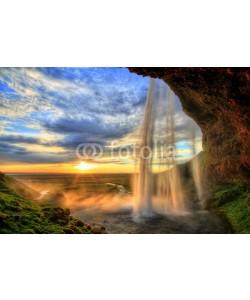revoc9, Seljalandfoss waterfall at sunset in HDR, Iceland