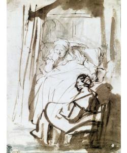 Rijn van Rembrandt, Saskia im Bett mit Krankenschwester