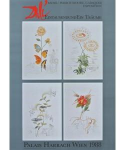 Salvador Dali, Tausend Träume - 4 Blumen-Bilder