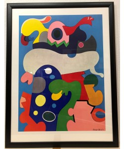 Bild mit Rahmen, Otmar Alt, Der Rosenblum 1967, Holz schwarz , Plexiglas
