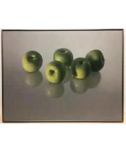 Bild gerahmt, Délaer, Vijf appels, Alu platin matt, Folie