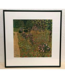 Bild mit Rahmen, G. Klimt, Obstgarten m. Rosen, Alu grün