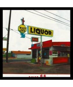 Bild mit Rahmen, Ayline Olukman, Route 66 - West End Liquor, Holz 34 mm, schwarz , Plexiglas