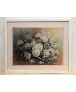 Bild mit Rahmen, Chiu T. C., Peonies Bouquet, Holz weiß 20 mm, Plexiglas