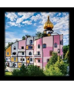Bild mit Rahmen, Friedensreich Hundertwasser, THERMENDORF, Bad Blumau, Holz 34 mm, schwarz , Folie