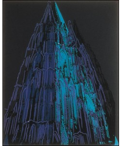 gerahmtes Bild Aluminium, Andy Warhol, Cologne Cathedral (blue)