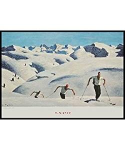 Bild gerahmt, Holz schwarz, A. Walde, Aufstieg der Schifahrer quer