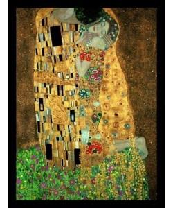 Gerahmtes Bild Holz schwarz, Plexiglas normal Gustav Klimt - Der Kuss