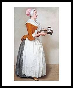 Jean-Etienne Liotard, Gerahmtes Bild Holz schwarz, Plexiglas normal, Schokoladenmädchen