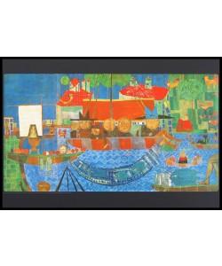 Gerahmtes Bild Holz schwarz, Folie matt, Friedensreich Hundertwasser - Wunderbarer Fischfang