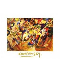 Bild mit Rahmen, Wassily Kandinsky, Komposition VI, Holz schwarz, Plexiglas normal