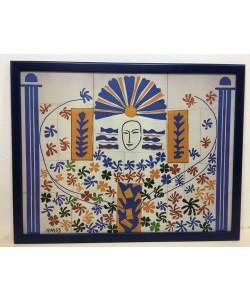 Gerahmtes Bild, Holz blau, Folie, letztes Exemplar,  Henri Matisse, Apollo