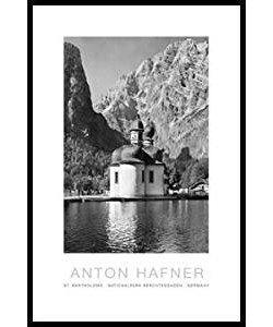 Gerahmtes Bild Aluminium schwarz glänzend, Folie, Anton Hafner, St. Bartholomä