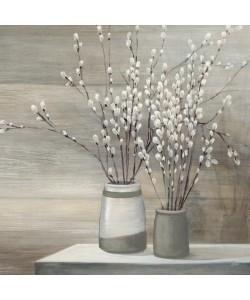 Julia Purinton, Pussy Willow Still Life with Grey Pots C