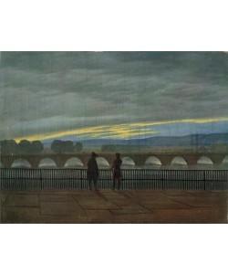Caspar David Friedrich, August Bridge in Dresden (colour litho)